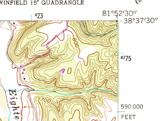 Reduced fragment of topographic map en--usgs--024k--072087--(1958)--N038-37-30_W082-00-00--N038-30-00_W081-52-30; towns and cities Winfield, Buffalo, Eleanor