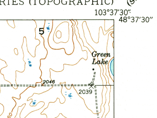 Reduced fragment of topographic map en--usgs--024k--072126--(1948)--N048-37-30_W103-45-00--N048-30-00_W103-37-30 in area of Lake Zahl