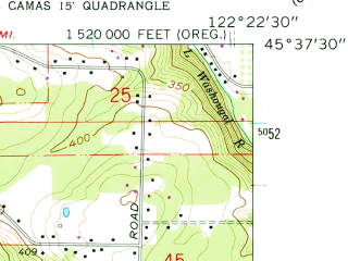 Reduced fragment of topographic map en--usgs--024k--072304--(1961)--N045-37-30_W122-30-00--N045-30-00_W122-22-30; towns and cities Gresham, Troutdale, Camas, Wood Village, Fairview
