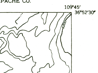Reduced fragment of topographic map en--usgs--024k--072336--(1952)--N036-52-30_W109-52-30--N036-45-00_W109-45-00