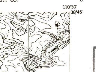 Reduced fragment of topographic map en--usgs--024k--072486--(1954)--N038-45-00_W110-37-30--N038-37-30_W110-30-00