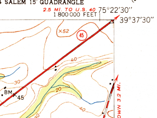 Reduced fragment of topographic map en--usgs--024k--072522--(1951)--N039-37-30_W075-30-00--N039-30-00_W075-22-30; towns and cities Salem