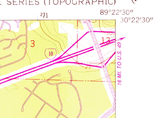 Reduced fragment of topographic map en--usgs--024k--072580--(1956)--N030-22-30_W089-30-00--N030-15-00_W089-22-30; towns and cities Waveland, Shoreline Park