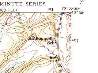 Reduced fragment of topographic map en--usgs--024k--072609--(1944)--N043-30-00_W073-30-00--N043-22-30_W073-22-30; towns and cities Fort Ann