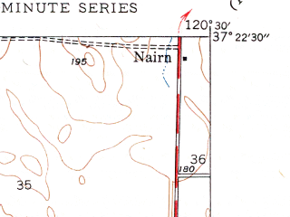 Reduced fragment of topographic map en--usgs--024k--072663--(1948)--N037-22-30_W120-37-30--N037-15-00_W120-30-00; towns and cities Atwater