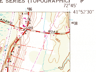 Reduced fragment of topographic map en--usgs--024k--072664--(1957)--N041-52-30_W072-52-30--N041-45-00_W072-45-00; towns and cities West Hartford, West Simsbury, Weatogue