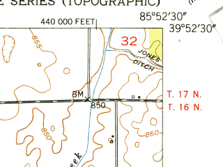Reduced fragment of topographic map en--usgs--024k--072673--(1952)--N039-52-30_W086-00-00--N039-45-00_W085-52-30; towns and cities Lawrence, Cumberland