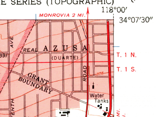 Reduced fragment of topographic map en--usgs--024k--072676--(1953)--N034-07-30_W118-07-30--N034-00-00_W118-00-00; towns and cities El Monte, Montebello, Rosemead, South El Monte, Temple City