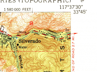 Reduced fragment of topographic map en--usgs--024k--072677--(1950)--N033-45-00_W117-45-00--N033-37-30_W117-37-30; towns and cities El Toro, El Toro Station, Portola Hills