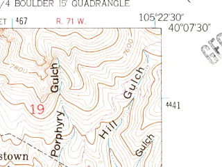 Reduced fragment of topographic map en--usgs--024k--072681--(1957)--N040-07-30_W105-30-00--N040-00-00_W105-22-30; towns and cities Jamestown