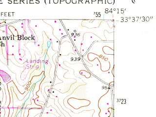 Reduced fragment of topographic map en--usgs--024k--072687--(1954)--N033-37-30_W084-22-30--N033-30-00_W084-15-00; towns and cities Forest Park, Morrow, Lake City, Jonesboro