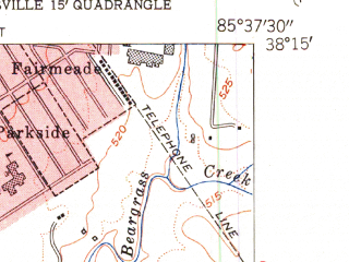 Reduced fragment of topographic map en--usgs--024k--072689--(1955)--N038-15-00_W085-45-00--N038-07-30_W085-37-30; towns and cities Louisville, Newburg, Highview, St. Matthews, Okolona
