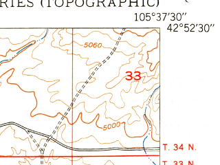 Reduced fragment of topographic map en--usgs--024k--076446--(1950)--N042-52-30_W105-45-00--N042-45-00_W105-37-30