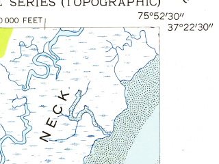 Reduced fragment of topographic map en--usgs--024k--076452--(1955)--N037-22-30_W076-00-00--N037-15-00_W075-52-30; towns and cities Cheriton, Eastville