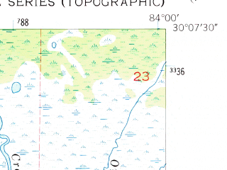 Reduced fragment of topographic map en--usgs--024k--076454--(1954)--N030-07-30_W084-07-30--N030-00-00_W084-00-00