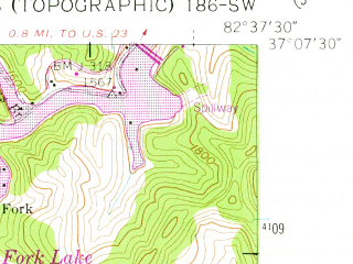 Reduced fragment of topographic map en--usgs--024k--076486--(1955)--N037-07-30_W082-45-00--N037-00-00_W082-37-30 in area of North Fork Lake