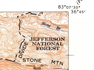 Reduced fragment of topographic map en--usgs--024k--076521--(1947)--N036-45-00_W083-15-00--N036-37-30_W083-07-30