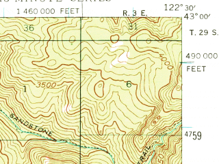 Reduced fragment of topographic map en--usgs--063k--050285--(1944)--N043-00_W122-45--N042-45_W122-30