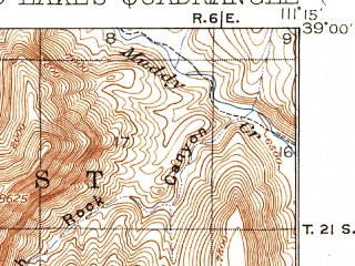 Reduced fragment of topographic map en--usgs--063k--050302--(1925)--N039-00_W111-30--N038-45_W111-15; towns and cities Emery