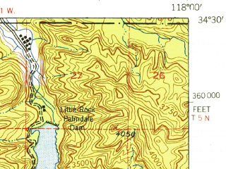 Reduced fragment of topographic map en--usgs--063k--050303--(1940)--N034-30_W118-15--N034-15_W118-00; towns and cities Acton