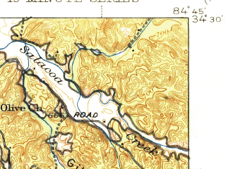 Reduced fragment of topographic map en--usgs--063k--050310--(1944)--N034-30_W085-00--N034-15_W084-45; towns and cities Calhoun, Adairsville