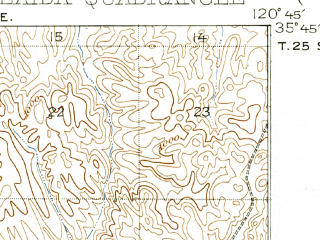 Reduced fragment of topographic map en--usgs--063k--050329--(1932)--N035-45_W121-00--N035-30_W120-45; towns and cities Lake Nacimiento