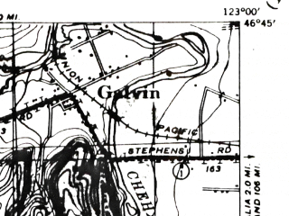 Reduced fragment of topographic map en--usgs--063k--050332--(1941)--N046-45_W123-15--N046-30_W123-00; towns and cities Fords Prairie