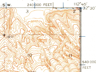 Reduced fragment of topographic map en--usgs--063k--050376--(1932)--N032-30_W113-00--N032-15_W112-45; towns and cities Ajo