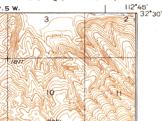 Reduced fragment of topographic map en--usgs--063k--050376--(1934)--N032-30_W113-00--N032-15_W112-45; towns and cities Ajo