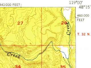 Reduced fragment of topographic map en--usgs--063k--050380--(1952)--N048-15_W119-15--N048-00_W119-00; towns and cities Nespelem Community