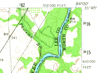 Reduced fragment of topographic map en--usgs--063k--050389--(1956)--N031-45_W084-15--N031-30_W084-00 in area of Lake Worth; towns and cities Albany, Leesburg