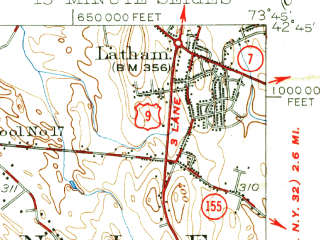 Reduced fragment of topographic map en--usgs--063k--050391--(1950)--N042-45_W074-00--N042-30_W073-45; towns and cities Albany, Loudonville, Roessleville, Colonie, Delmar