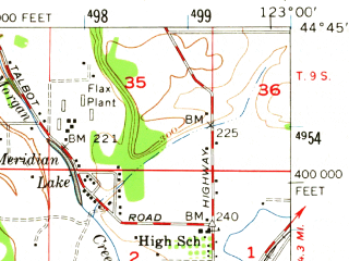 Reduced fragment of topographic map en--usgs--063k--050392--(1957)--N044-45_W123-15--N044-30_W123-00; towns and cities Albany, Adair Village, Jefferson, Millersburg