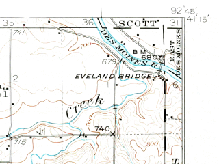 Reduced fragment of topographic map en--usgs--063k--050397--(1929)--N041-15_W093-00--N041-00_W092-45; towns and cities Albia, Bussey, Hamilton
