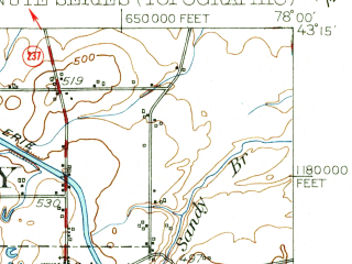 Reduced fragment of topographic map en--usgs--063k--050399--(1950)--N043-15_W078-15--N043-00_W078-00; towns and cities Albion, Elba, Holley