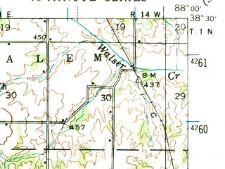 Reduced fragment of topographic map en--usgs--063k--050400--(1943)--N038-30_W088-15--N038-15_W088-00; towns and cities Golden Gate, Albion