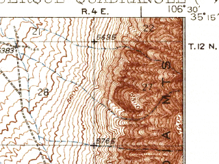 Reduced fragment of topographic map en--usgs--063k--050404--(1938)--N035-15_W106-45--N035-00_W106-30; towns and cities Albuquerque, South Valley, North Valley, Corrales, Paradise Hills