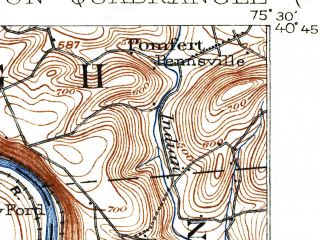 Reduced fragment of topographic map en--usgs--063k--050405--(1902)--N040-45_W075-45--N040-30_W075-30; towns and cities Alburtis, Ancient Oaks, Macungie
