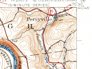 Reduced fragment of topographic map en--usgs--063k--050405--(1942)--N040-45_W075-45--N040-30_W075-30; towns and cities Alburtis, Ancient Oaks, Macungie