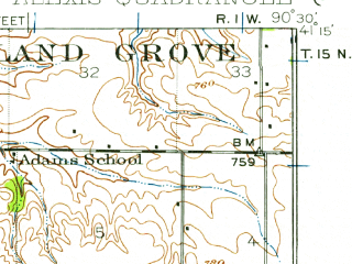 Reduced fragment of topographic map en--usgs--063k--050418--(1923)--N041-15_W090-45--N041-00_W090-30; towns and cities Aledo, Alexis, Little York