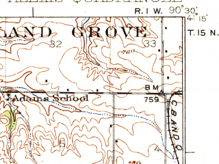Reduced fragment of topographic map en--usgs--063k--050418--(1925)--N041-15_W090-45--N041-00_W090-30; towns and cities Aledo, Alexis, Little York