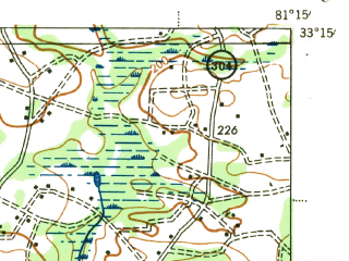 Reduced fragment of topographic map en--usgs--063k--050438--(1943)--N033-15_W081-30--N033-00_W081-15; towns and cities Barnwell, Allendale, Kline, Snelling
