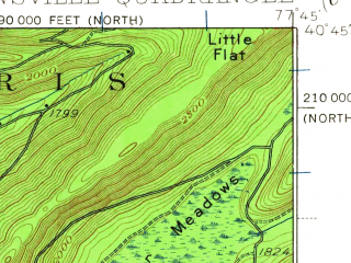 Reduced fragment of topographic map en--usgs--063k--050439--(1935)--N040-45_W078-00--N040-30_W077-45; towns and cities Pine Grove Mills, Ramblewood