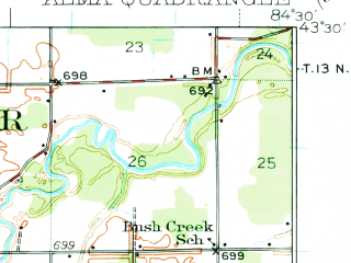 Reduced fragment of topographic map en--usgs--063k--050451--(1935)--N043-30_W084-45--N043-15_W084-30; towns and cities Alma, Ithaca, St. Louis