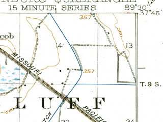 Reduced fragment of topographic map en--usgs--063k--050468--(1925)--N037-45_W089-45--N037-30_W089-30; towns and cities Old Appleton, Pocahontas, Altenburg