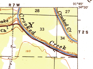 Reduced fragment of topographic map en--usgs--063k--050469--(1935)--N034-30_W092-00--N034-15_W091-45; towns and cities Altheimer, Sherrill, Wabbaseka