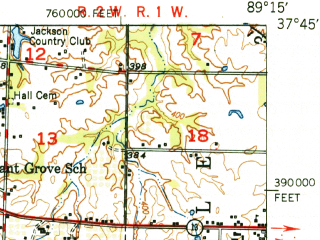 Reduced fragment of topographic map en--usgs--063k--050471--(1949)--N037-45_W089-30--N037-30_W089-15 in area of Cedar Lake; towns and cities Alto Pass, Cobden, Gorham