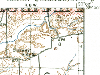 Reduced fragment of topographic map en--usgs--063k--050472--(1934)--N039-00_W090-15--N038-45_W090-00; towns and cities Alton, Spanish Lake, Bellefontaine Neighbors, Wood River, Godfrey