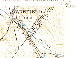 Reduced fragment of topographic map en--usgs--063k--050476--(1919)--N043-30_W071-15--N043-15_W071-00 in area of Merrymeeting Lake; towns and cities Farmington