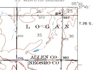 Reduced fragment of topographic map en--usgs--063k--050478--(1938)--N037-45_W095-45--N037-30_W095-30; towns and cities Altoona, Benedict, Buffalo